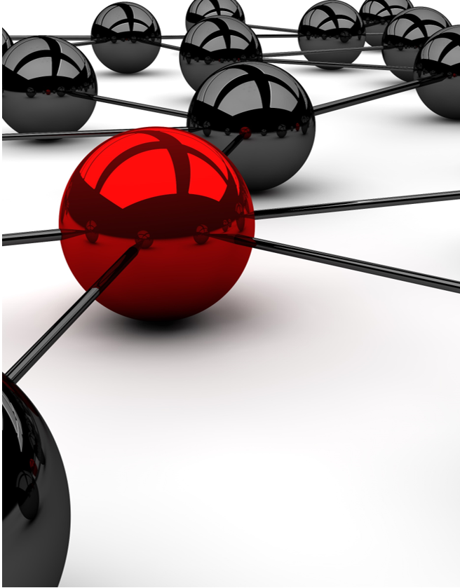 Many black balls and one red linked by a line.