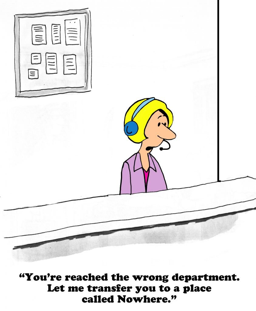 A drawing of a call center operator