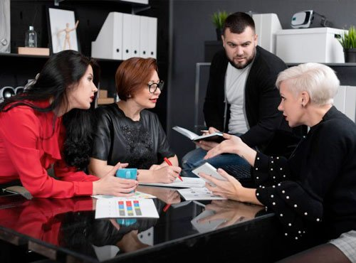 4 people in a meeting